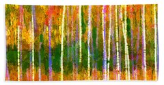 Colorful Forest Abstract Bath Towel by Menega Sabidussi