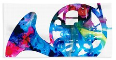 Colorful French Horn 2 - Cool Colors Abstract Art Sharon Cummings Hand Towel by Sharon Cummings