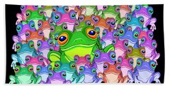 Colorful Froggy Family Hand Towel