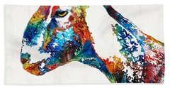 Colorful Goat Art By Sharon Cummings Hand Towel by Sharon Cummings