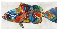 Colorful Grouper Art Fish By Sharon Cummings Hand Towel