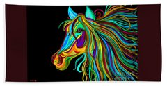 Colorful Horse Head 2 Hand Towel