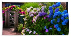 Colorful Hydrangea At The Gate. Giethoorn. Netherlands Hand Towel