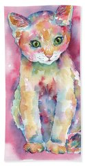 Colorful Kitten Hand Towel