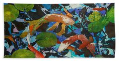 Colorful Koi Hand Towel