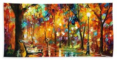 Colorful Night - Palette Knlfe Oil Painting On Canvas By Leonid Afremov Hand Towel