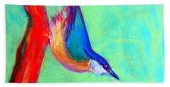Colorful Nuthatch Bird Hand Towel