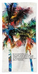 Colorful Palm Trees - Returning Home - By Sharon Cummings Bath Towel