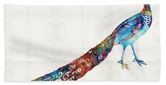 Colorful Peacock Art By Sharon Cummings Hand Towel