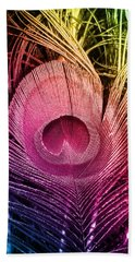 Colorful Peacock Feather Hand Towel by Eva Csilla Horvath