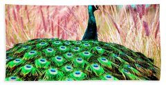 Colorful Peacock Bath Towel by Matt Harang