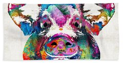 Colorful Pig Art - Squeal Appeal - By Sharon Cummings Hand Towel