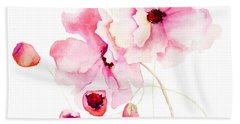 Colorful Pink Flowers Bath Towel