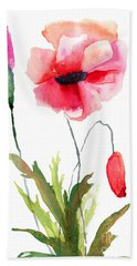 Colorful Poppy Flowers Hand Towel