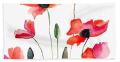 Colorful Red Flowers Bath Towel
