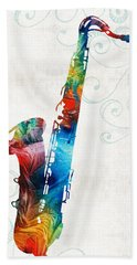 Colorful Saxophone 3 By Sharon Cummings Hand Towel