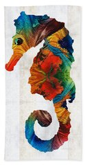 Colorful Seahorse Art By Sharon Cummings Bath Towel