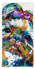 Colorful Shih Tzu Dog Art By Sharon Cummings Bath Towel