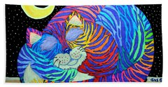 Colorful Striped Cat In The Moonlight Hand Towel