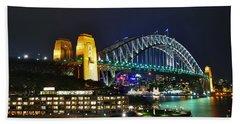 Colorful Sydney Harbour Bridge By Night Bath Towel