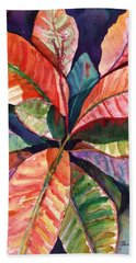 Colorful Tropical Leaves 1 Bath Towel by Marionette Taboniar