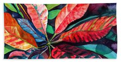 Colorful Tropical Leaves 2 Hand Towel