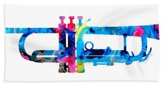 Colorful Trumpet 2 Art By Sharon Cummings Hand Towel