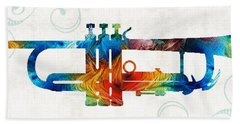 Colorful Trumpet Art Color Fusion By Sharon Cummings Hand Towel by Sharon Cummings