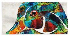 Colorful Wood Duck Art By Sharon Cummings Hand Towel by Sharon Cummings