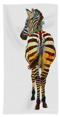 Colorful Zebra Bath Towel by Teresa Zieba