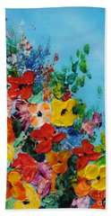 Bath Towel featuring the painting Colour Of Spring by Teresa Wegrzyn