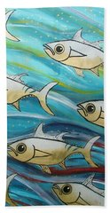 Coloured Water Fish Hand Towel