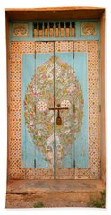 Colourful Moroccan Entrance Door Sale Rabat Morocco Hand Towel by Ralph A  Ledergerber-Photography