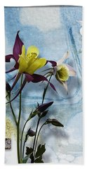Columbine Blossom With Suminagashi Ink Bath Towel