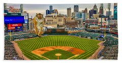 Hand Towel featuring the photograph Comerica Park Detroit Mi With The Tigers by Nicholas  Grunas