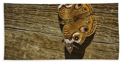 Common Buckeye With Torn Wing Hand Towel by Lynn Palmer