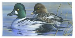 Common Goldeneye Hand Towel by Mike Brown