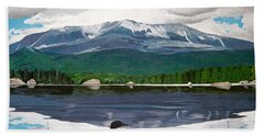 Common Loon On Togue Pond By Mount Katahdin Bath Towel