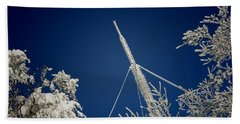 Communication Pole Covered With Snow In A Sunny Winter Day Hand Towel