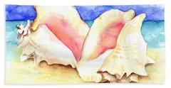 Conch Shells On Beach Hand Towel