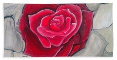 Hand Towel featuring the painting Concrete Rose by Marisela Mungia