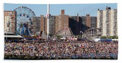 Hand Towel featuring the photograph Coney Island by Ed Weidman