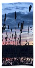 Connecticut Sunset With Reeds Series 4 Hand Towel by Marianne Campolongo