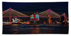 Container Ship Arriving At Savannah Hand Towel