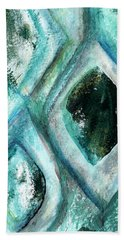 Contemporary Abstract- Teal Drops Hand Towel