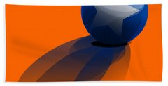 Hand Towel featuring the digital art Blue Ball Decorated With Star Orange Background by R Muirhead Art
