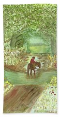 Hand Towel featuring the painting Cooling Off by Tracey Williams