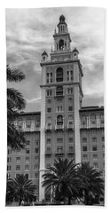 Coral Gables Biltmore Hotel In Black And White Bath Towel