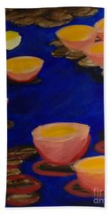 Hand Towel featuring the painting Coral Lily Pond by Anita Lewis