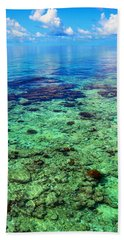 Coral Reef Near The Island At Peaceful Day. Maldives Hand Towel